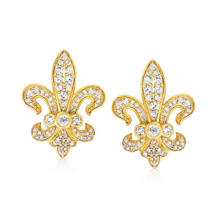 1.00 ct. t.w. Diamond Fleur-De-Lis Earrings in 18kt Gold Over Sterling, , default