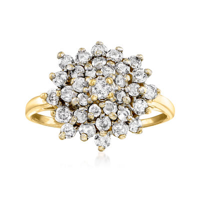 C. 2000 Vintage .50 ct. t.w. Diamond Cluster Ring in 14kt Yellow Gold