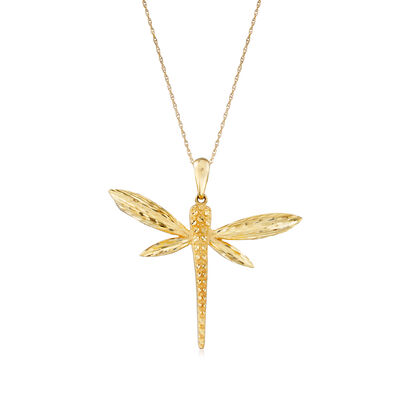 14kt Yellow Gold Dragonfly Pendant Necklace, , default