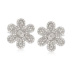 .30 ct. t.w. Pave Diamond Flower Earrings in 14kt White Gold, , default