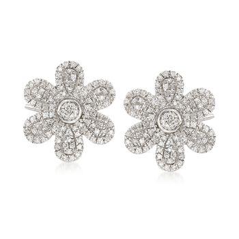 .30 ct. t.w. Pave Diamond Flower Earrings in 14kt White Gold, , default
