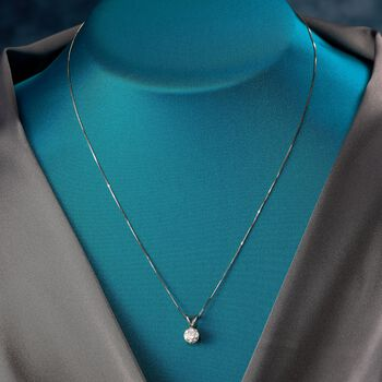 "1.00 Carat Diamond Pendant Necklace in 18kt White Gold. 18"""