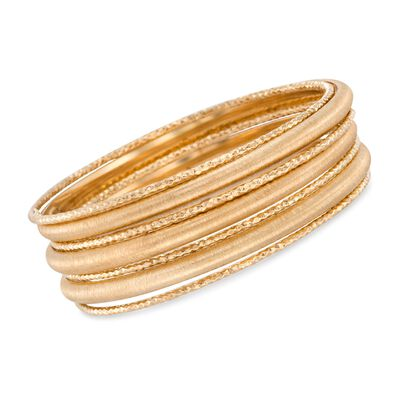Italian 18kt Gold Over Sterling Silver Jewelry Set: Seven Bangle Bracelets, , default