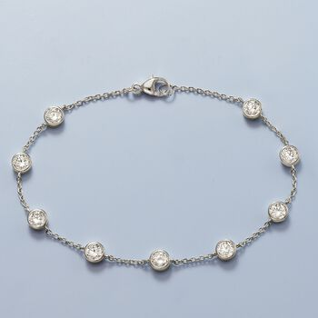 2.20 ct. t.w. Bezel-Set CZ Station Bracelet in Sterling Silver, , default