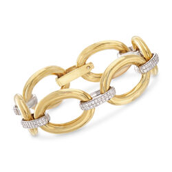 "1.75 ct. t.w. Diamond Oval Link Bracelet in 18kt Two-Tone Gold . 7"", , default"