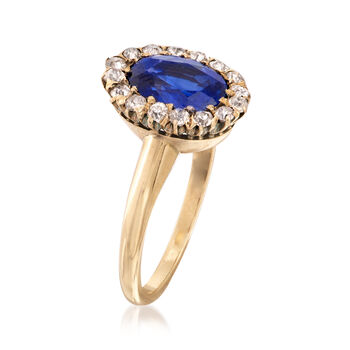 C. 1930 Vintage 2.80 Carat Sapphire and .40 ct. t.w. Diamond Ring in 14kt Yellow Gold. Size 6