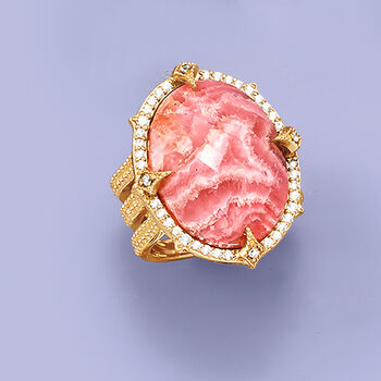 Rhodochrosite and White Zircon Ring in 18kt Yellow Gold Over Sterling, , default