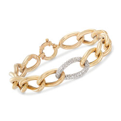 Italian 1.60 ct. t.w. Pave CZ Center Link Bracelet in 14kt Yellow Gold, , default