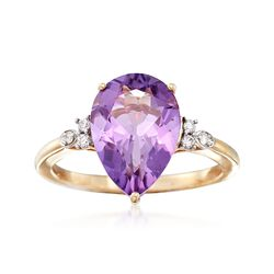 3.50 Carat Amethyst Ring With Diamond Accents in 14kt Yellow Gold, , default