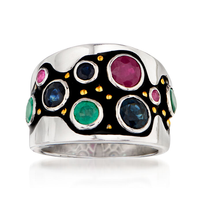 1.10 ct. t.w. Sapphire, 1.00 ct. t.w. Emerald and .80 ct. t.w. Ruby Ring in Sterling Silver with 18kt Gold Over Sterling