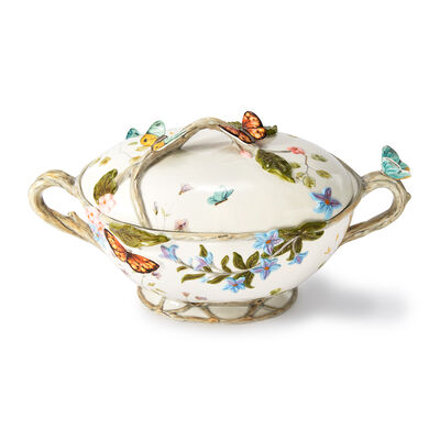 Fitz and Floyd Ceramic Tableware Butterfly Fields Collection - Tureen, , default