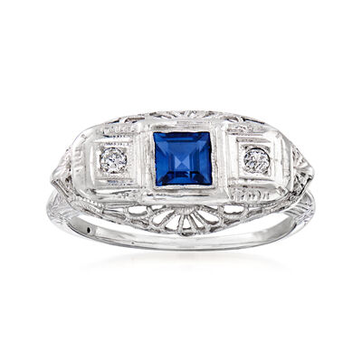 C. 1950 Vintage .40 Carat Sapphire and Diamond-Accented Ring in 18kt White Gold