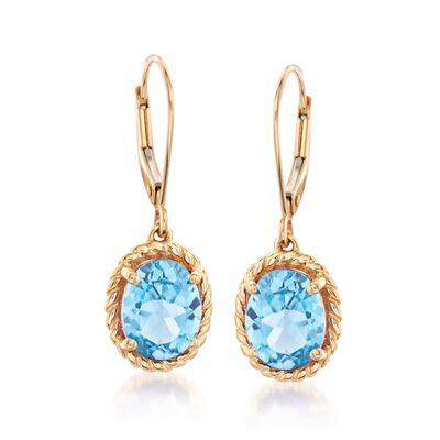 4.30 ct. t.w. Blue Topaz Drop Earrings in 14kt Yellow Gold, , default