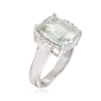 5.00 Carat Green Amethyst and .10 ct. t.w. White Topaz Ring in Sterling Silver, , default