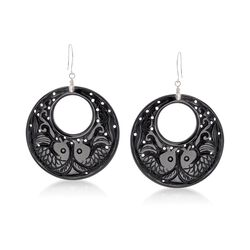 "Carved Black Agate Sealife Hoop Earrings With White Topaz Accents in Sterling Silver. 2 1/4"", , default"