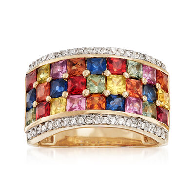 3.60 ct. t.w. Multicolored Sapphire and .21 ct. t.w. Diamond Ring in 14kt Yellow Gold, , default