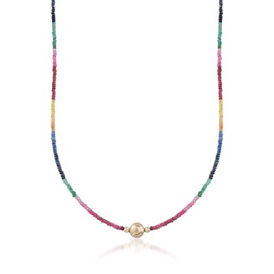 45.00 ct. t.w. Multicolored Sapphire Bead Necklace with 14kt Yellow Gold, , default