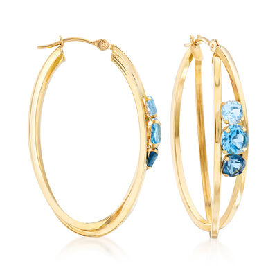 6.00 ct. t.w. Tonal Blue Topaz Oval Hoop Earrings in 14kt Yellow Gold