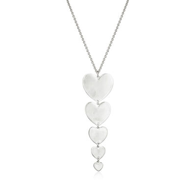 Italian Sterling Silver Five-Heart Drop Necklace, , default