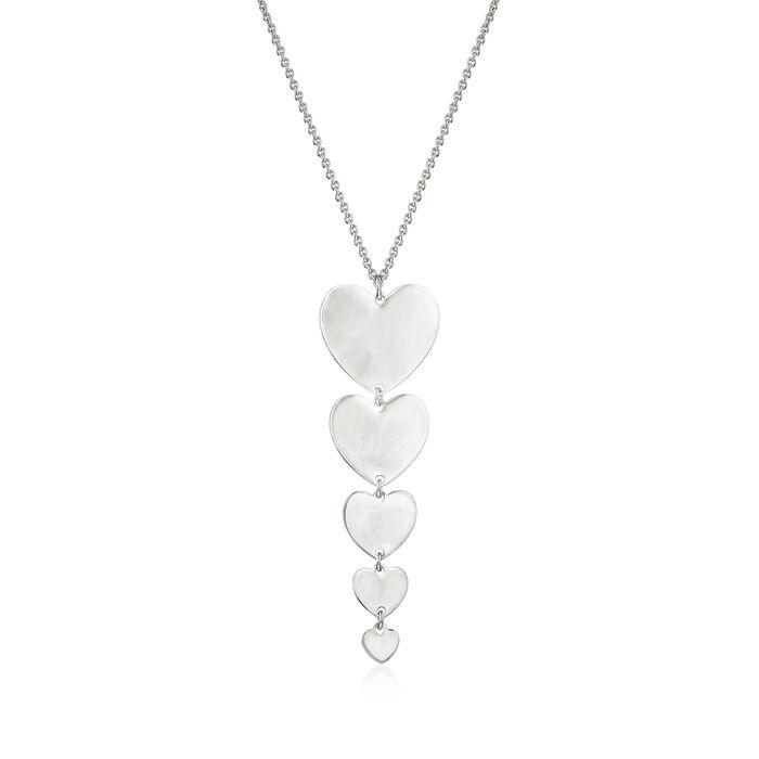 Italian Sterling Silver Five-Heart Drop Necklace
