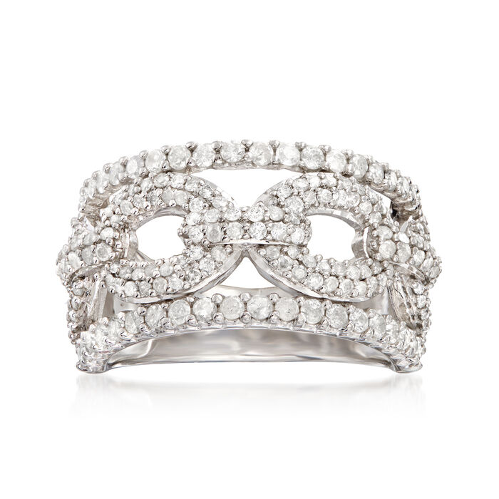 1.20 ct. t.w. Diamond Chain-Link Ring in Sterling Silver