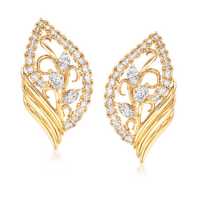 C. 1980 Vintage Tasaki 2.24 ct. t.w. Diamond Leaf Clip-On Earrings in 18kt Yellow Gold, , default