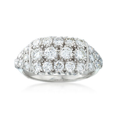 C. 1980 Vintage 1.60 ct. t.w. Diamond Three-Row Ring in 14kt White Gold and Platinum, , default