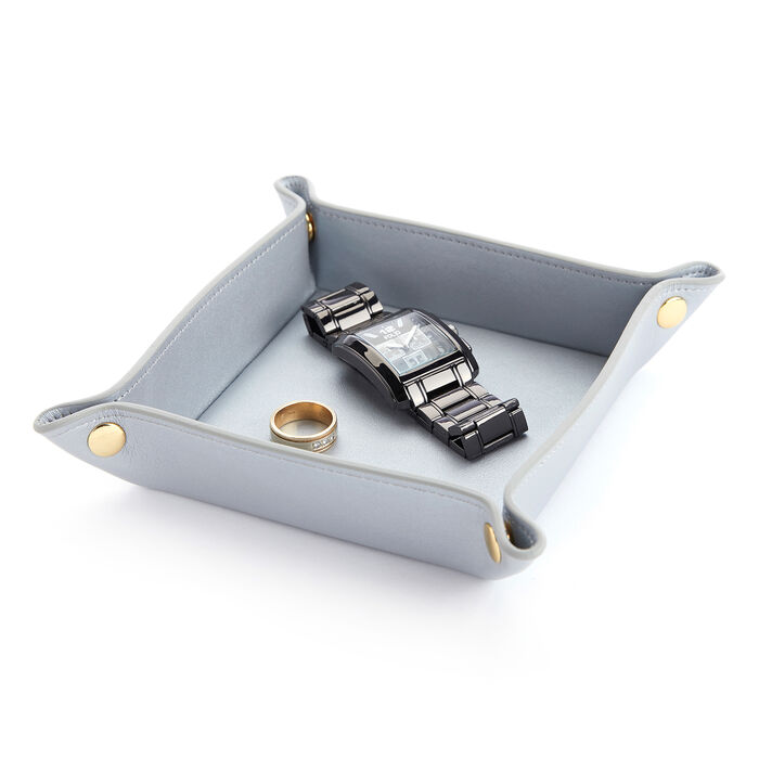 Royce Silver Leather Valet Tray  , , default