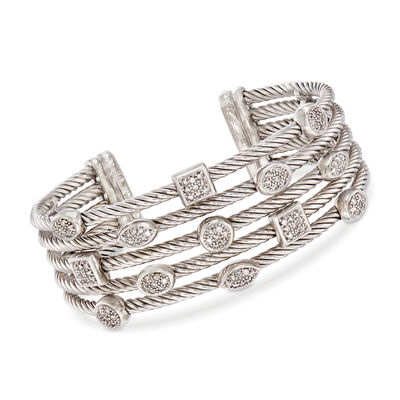 C. 2000 Vintage David Yurman Multi-Row Bracelet With .35 ct. t.w. Diamonds in Sterling Silver, , default