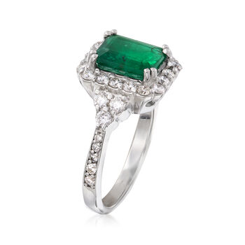 2.10 Carat Emerald and .75 ct. t.w. Diamond Ring in 18kt White Gold