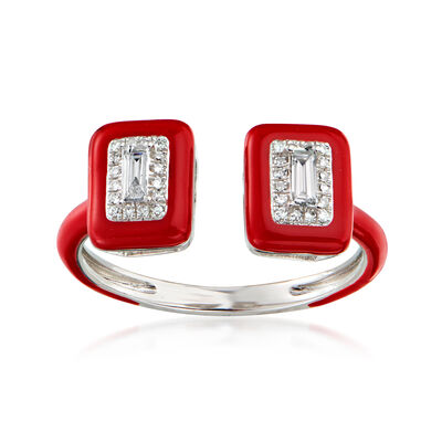 .21 ct. t.w. Diamond Open-Space Ring with Red Enamel in 18kt White Gold