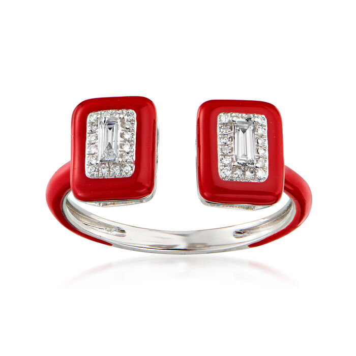 .21 ct. t.w. Diamond Open-Space Ring with Red Enamel in 18kt White Gold. Size 7