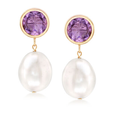 Cultured Pearl and Gem Drop Earrings in 14kt Yellow Gold
