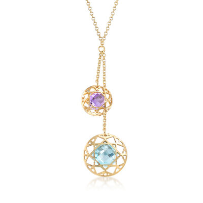 Italian 4.20 Carat Topaz and 1.60 Carat Amethyst Lariat Necklace in 18kt Gold Over Sterling, , default