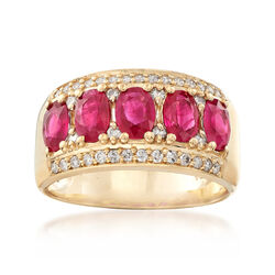 C. 1990 Vintage 2.00 ct. t.w. Ruby and .50 ct. t.w. Diamond Ring in 14kt Yellow Gold, , default