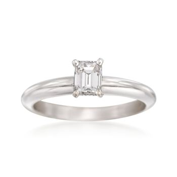 .56 Carat Emerald-Cut Diamond Solitaire Engagement Ring in 14kt White Gold. Size 5.5, , default