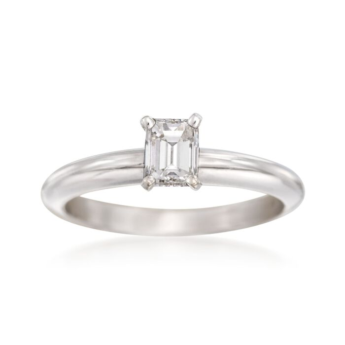 .56 Carat Emerald-Cut Diamond Solitaire Engagement Ring in 14kt White Gold, , default