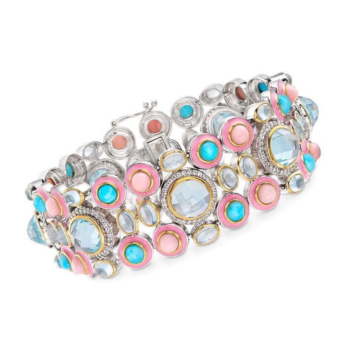 "Multi-Gemstone Bracelet in Sterling Silver. 8"", , default"