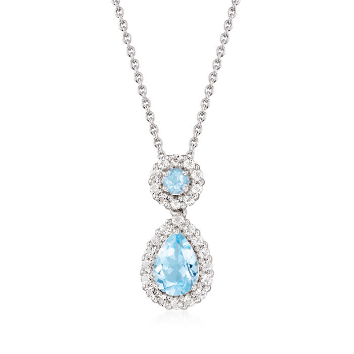 3.30 ct. t.w. Blue and White Topaz Pendant Necklace in Sterling Silver