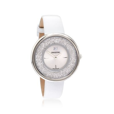 Swarovski Crystal Crystalline Pure Women's Stainless Watch With Crystals and White Leather , , default