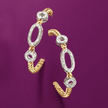 ".18 ct. t.w. Diamond Oval and Circle Hoop Earrings in Two-Tone Sterling Silver. 1 5/8"", , default"