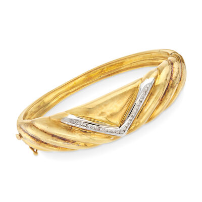 C. 1980 Vintage .40 ct. t.w. Diamond V-Shape Bangle Bracelet in 18kt Two-Tone Gold, , default