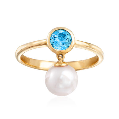 7-7.5mm Cultured Pearl and .50 ct. t.w. Swiss Blue Topaz Ring in 14kt Yellow Gold