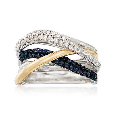 .28 ct. t.w. Sapphire and .25 ct. t.w. Diamond Crisscross Highway Ring in Sterling Silver and 14kt Yellow Gold, , default