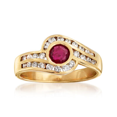 C. 1980 Vintage .40 Carat Ruby and .50 ct. t.w. Diamond Swirl Ring in 14kt Yellow Gold, , default