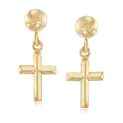 Small Cross Drop Earrings in 14kt Yellow Gold, , default