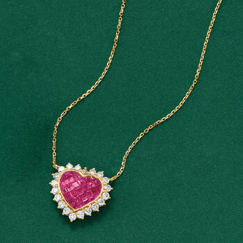 1.50 ct. t.w. Ruby and .68 ct. t.w. Diamond Heart Necklace in 18kt Yellow Gold