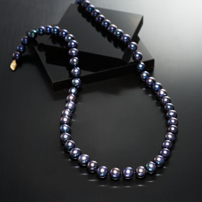 10-11mm Black Cultured Pearl Necklace with 14kt Yellow Gold