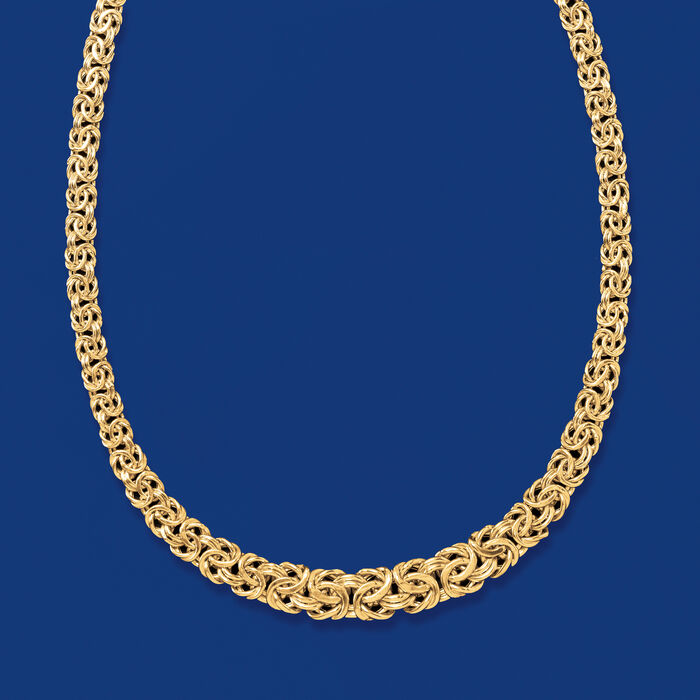 18kt Yellow Gold Byzantine Necklace