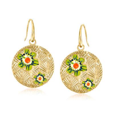 Italian Enamel Flower Drop Earrings in 18kt Gold Over Sterling